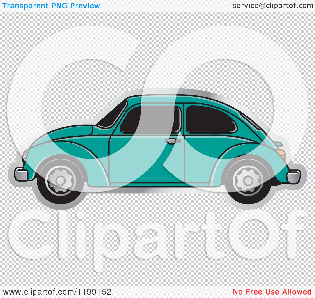 Clipart of a Vintage Sea Green Vw Beetle Car with Tinted Windows.
