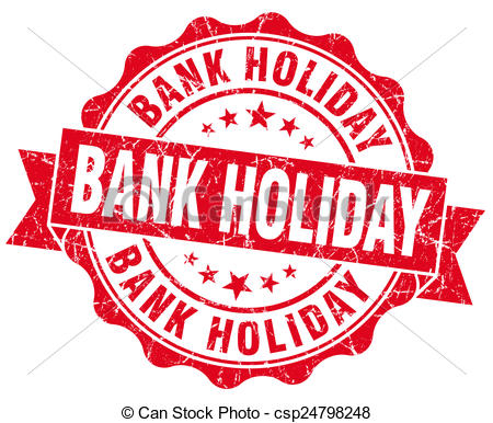Bank holiday red vintage isolated seal Clip Art and Stock.