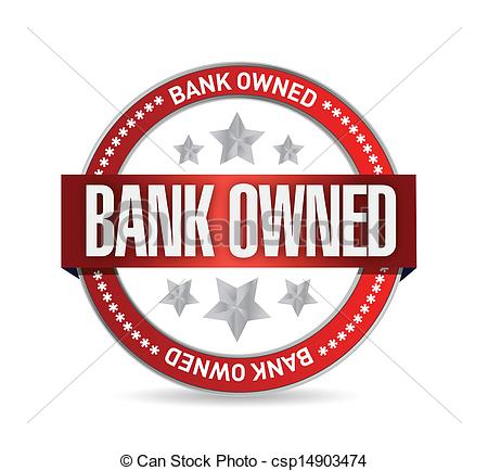 Vectors Illustration of bank owned seal stamp illustration design.