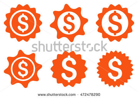 Bank Seal Vector Icons. Pictogram Style Is Orange Flat Icons With.