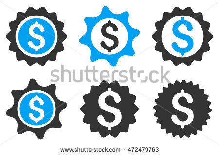 Bank Seal Glyph Icons. Pictogram Style Is Bicolor Blue And Gray.