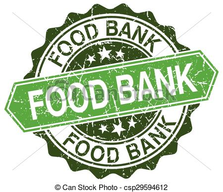 Vector Clip Art of food bank green round retro style grunge seal.
