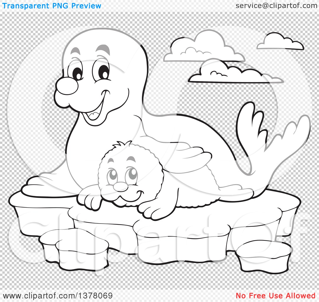 Clipart of a Black and White Happy Seal and Pup Sitting on Ice.