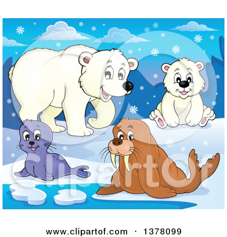 Clipart of a Happy Seal Pup, Walrus and Polar Bears in the Snow.