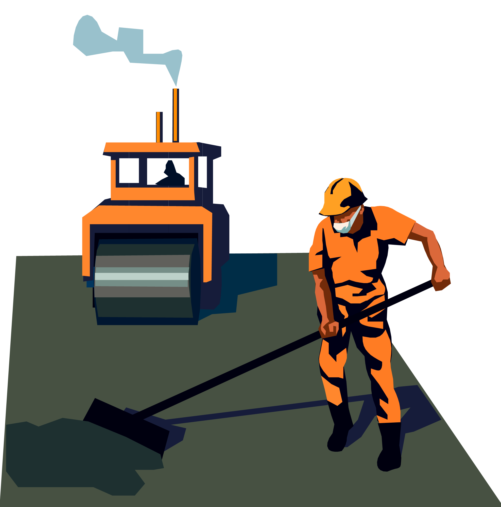 Man Sealcoating Driveway Clipart & Clip #316638.