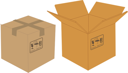 Vector clip art of sealed and open cardboard boxes.