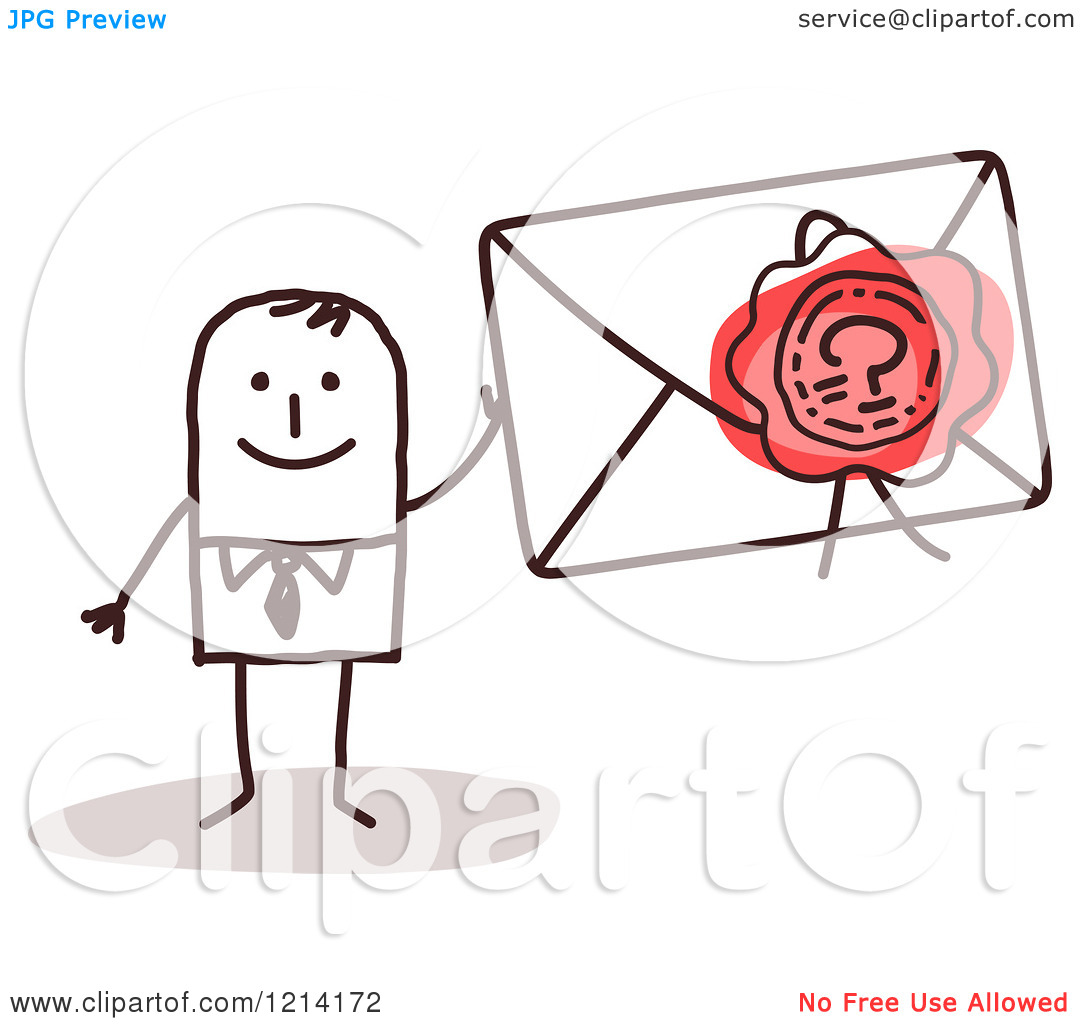 Clipart of a Stick People Business Man Holding a Sealed Envelope.