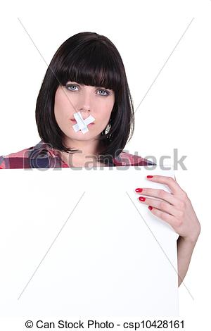 Stock Image of Talkative woman with her mouth sealed off.