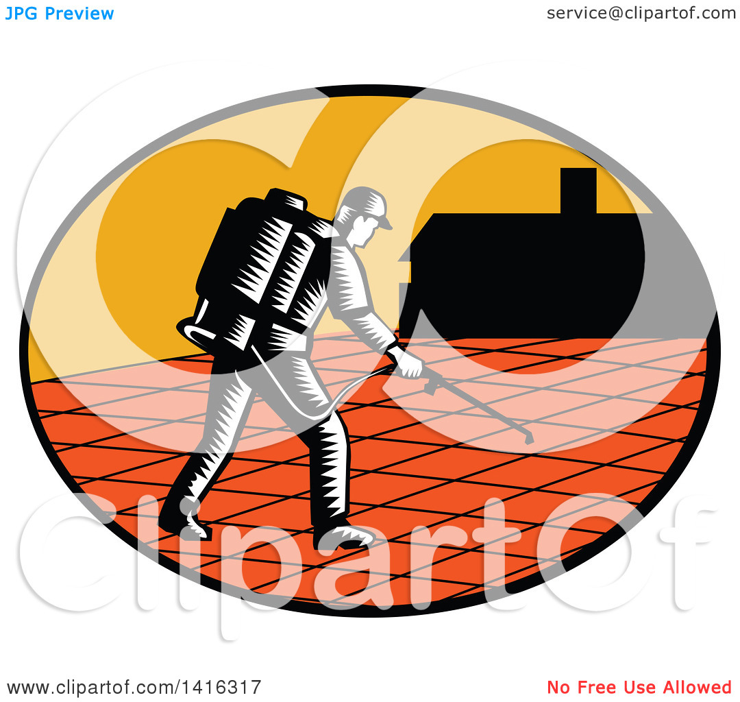 Clipart of a Retro Woodcut Paver Sealer Contractor Worker Sealing.