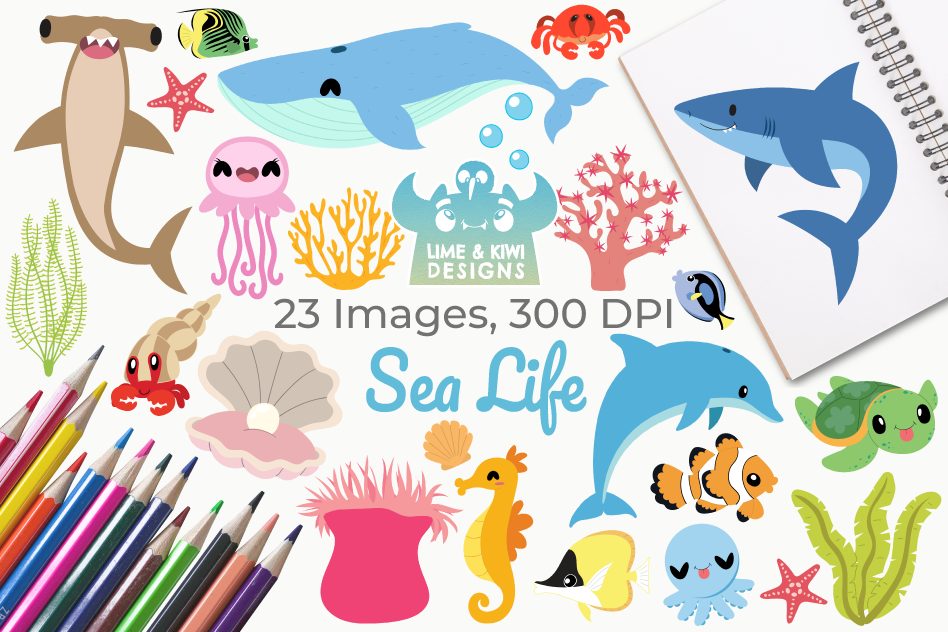 Sea Life Clipart, Instant Download Vector Art.