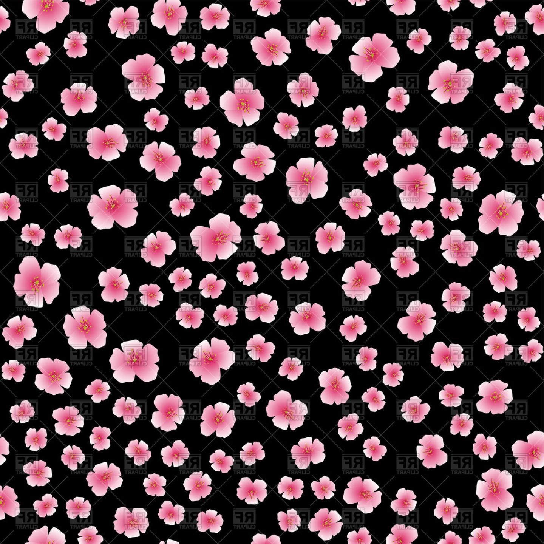 Floral Seamless Pattern With Blossom Sakura Flower On Black.
