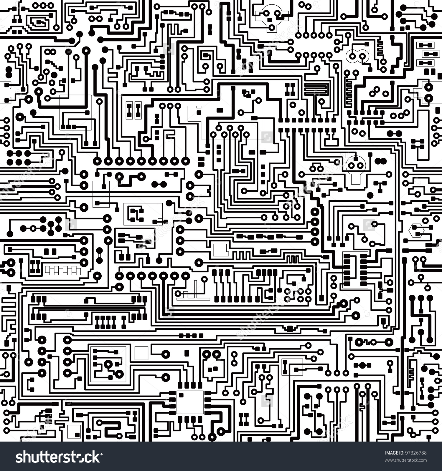 Computer Circuit Board Pattern Vector Seamless Stock Vector.