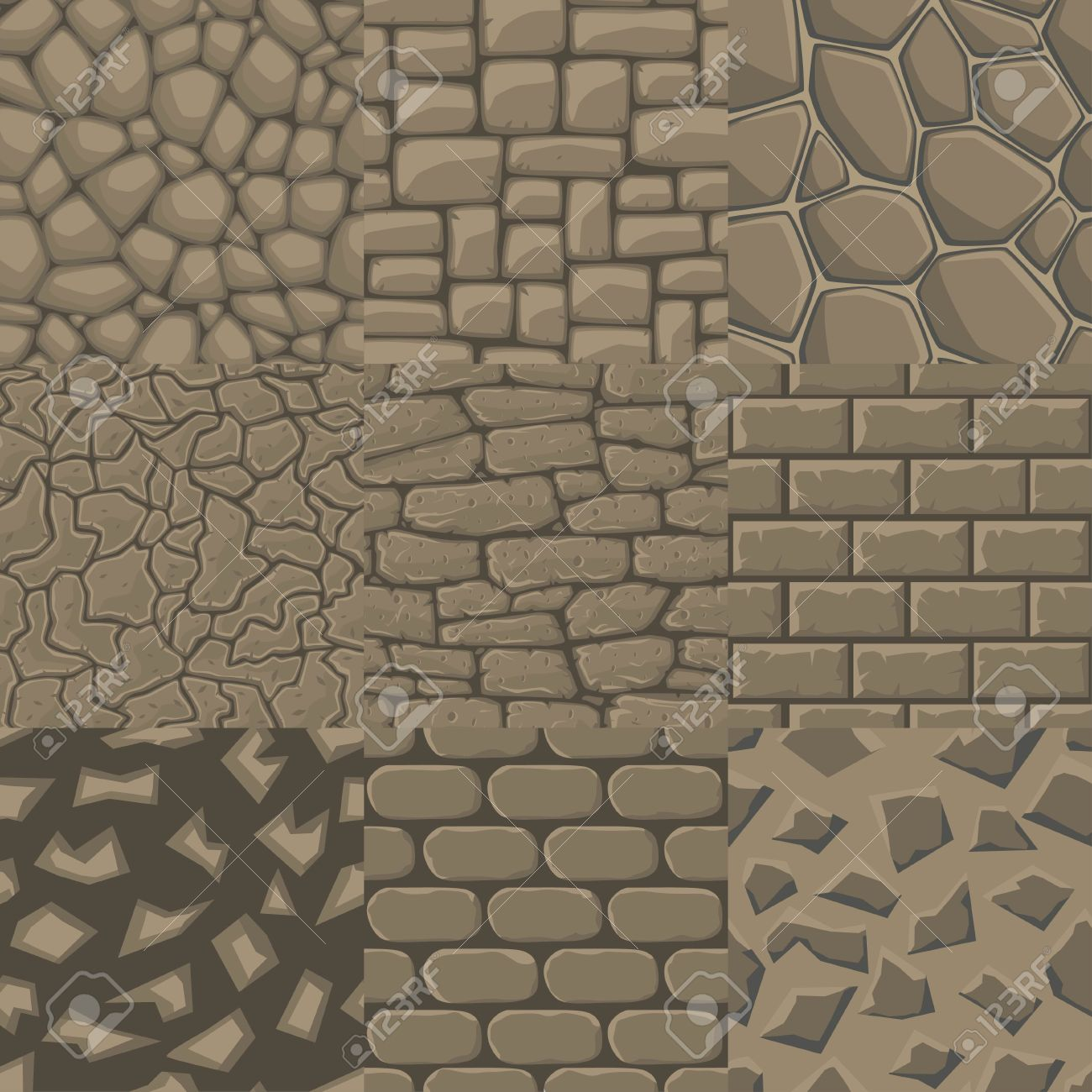 Vector Cartoon Stone Wall Seamless Texture Collection Of 9.