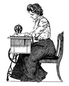 vintage sewing clipart, free black and white clip art.