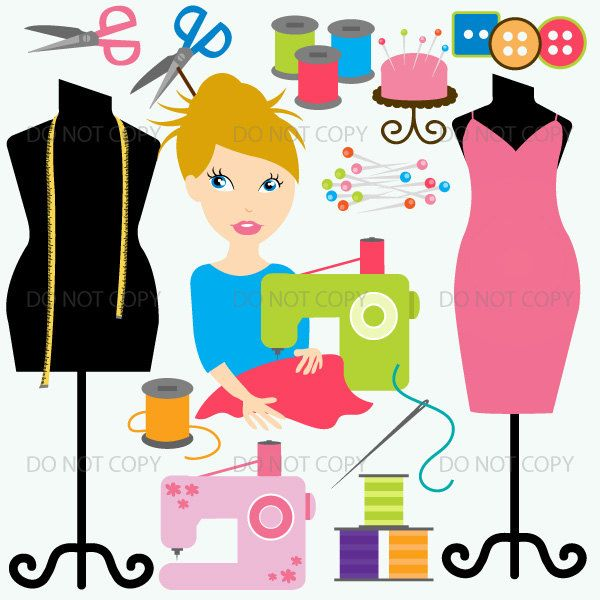 Sewing clipart, crafting sewing clip art, seamstress clipart.