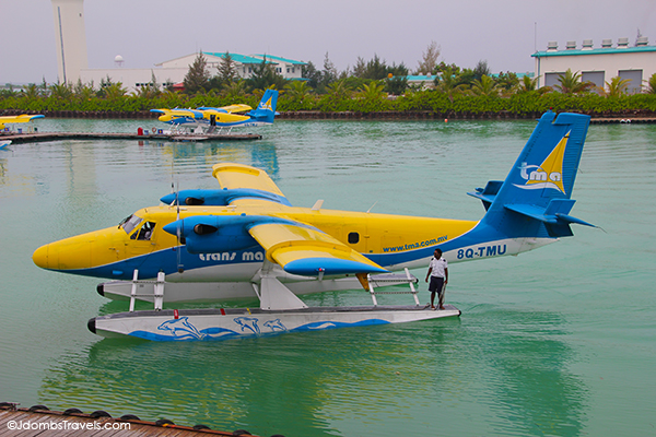 Flying in a Seaplane Over the Maldives.