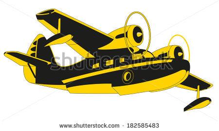 Retro Seaplane Illustration Stock Illustration 372964147.