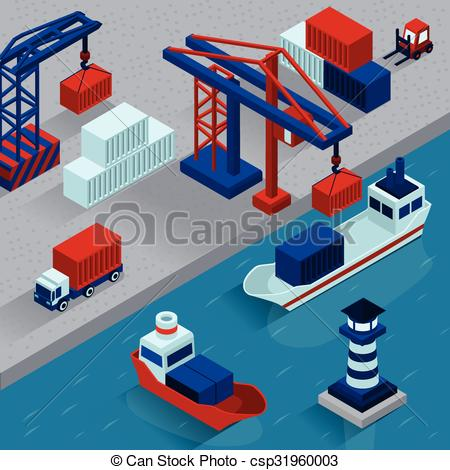 Vector Clipart of Seaport Cargo Loading Isometric Concept.
