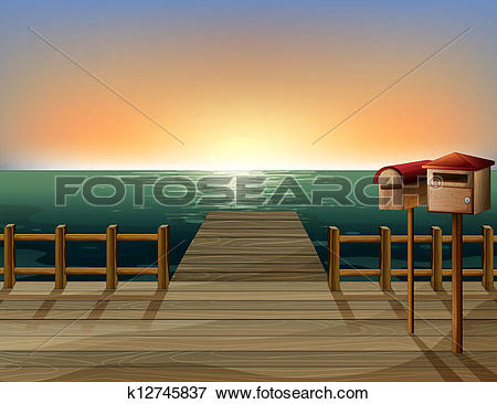 Clip Art of A letter box and a sea port k12745837.