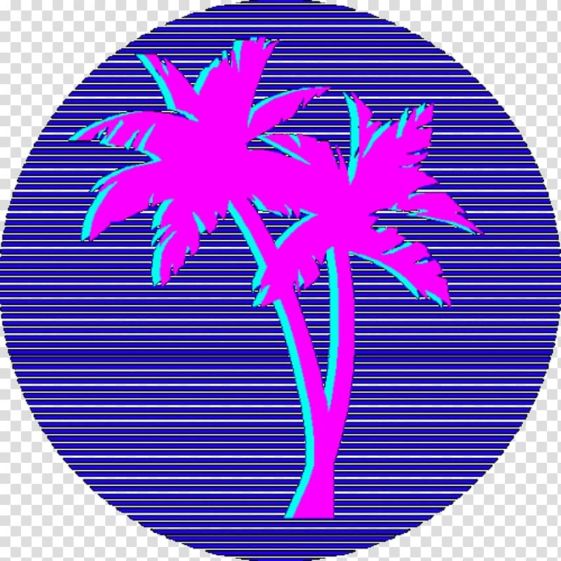 Blue and purple coconut tree art, Vaporwave Seapunk Desktop.