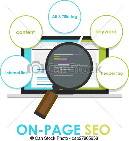 Clipart Vector of on page seo search engine optimization on.