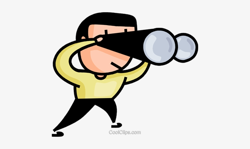 Man Searching With Binoculars Royalty Free Vector Clip.