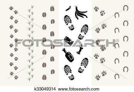 Clipart of Traces of animals and humans k33049314.