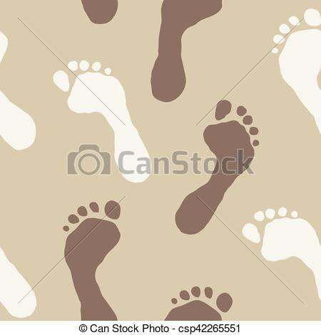 Clipart Vector of Seamless texture with traces of feet in the sand.