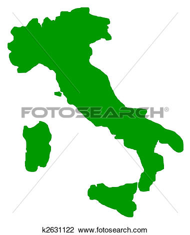 Clip Art of Italy map outline k2631122.