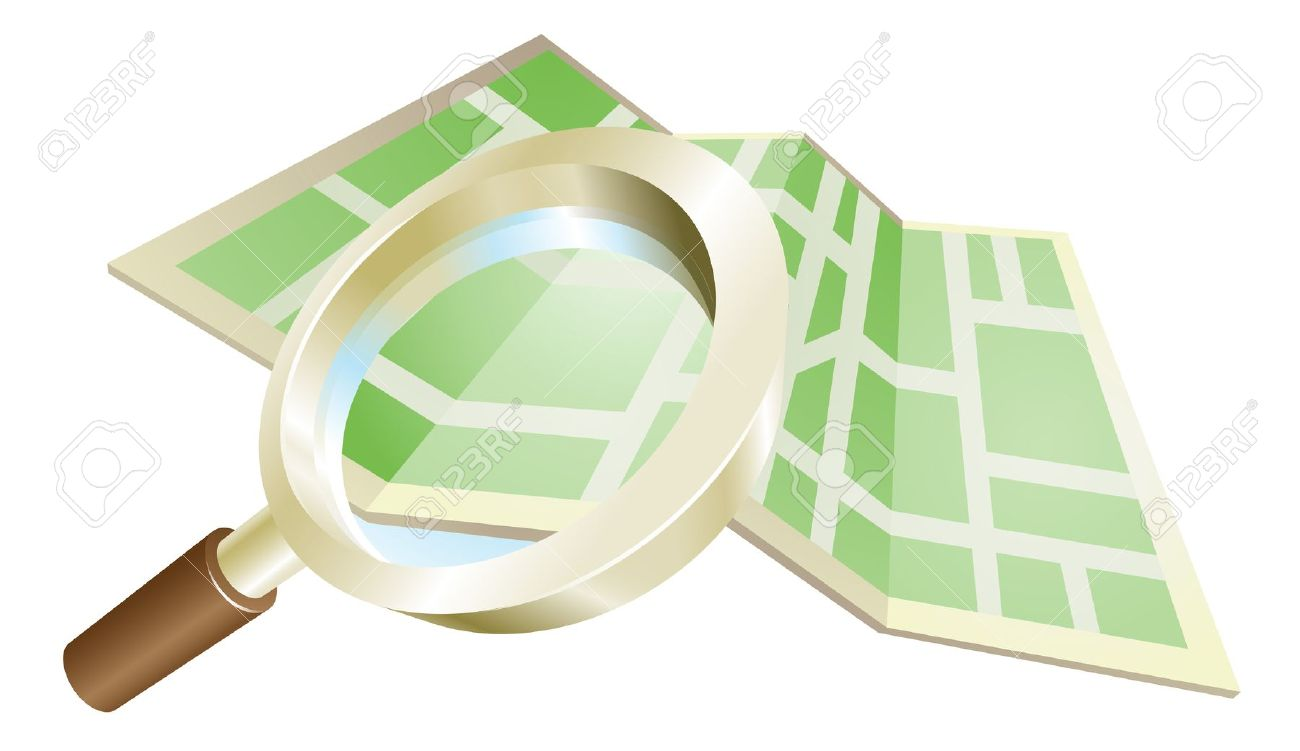 Magnifying Glass Zooming On Map Search Concept Illustration.