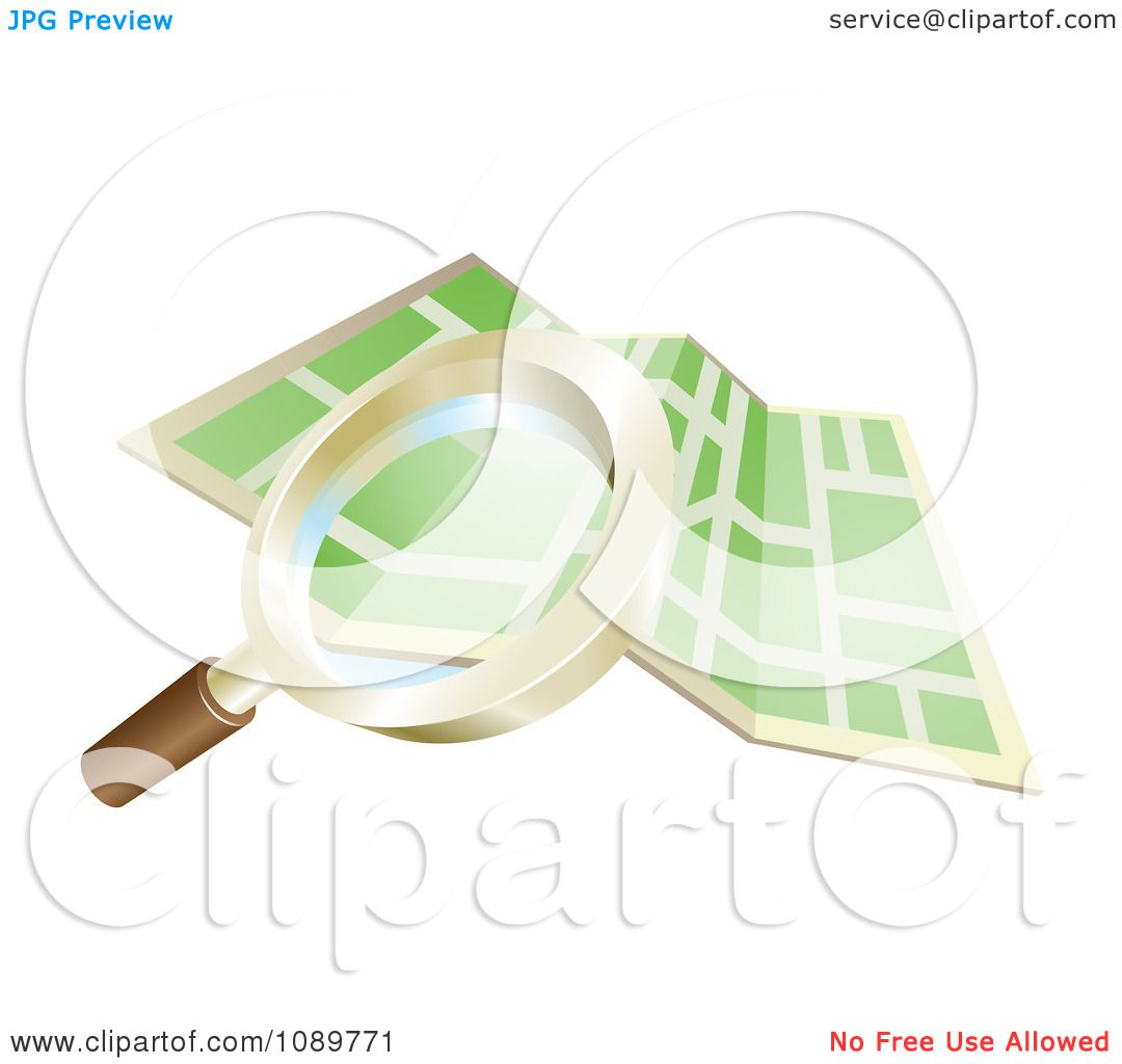 Clipart 3d Magnifying Glass Searching Over A Gps Map.