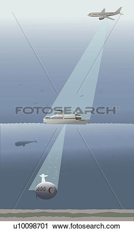 Clipart of Search light falling from an airplane on a cruise ship.