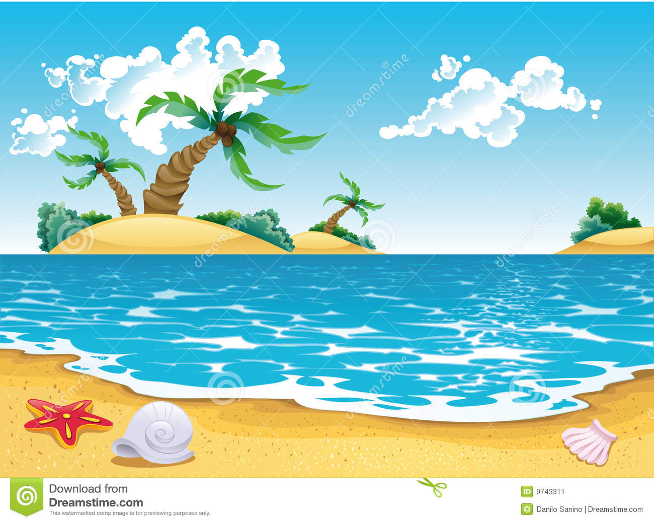 Cartoon Seascape Stock Image.