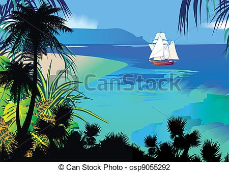 Vector Illustration of Seascape..
