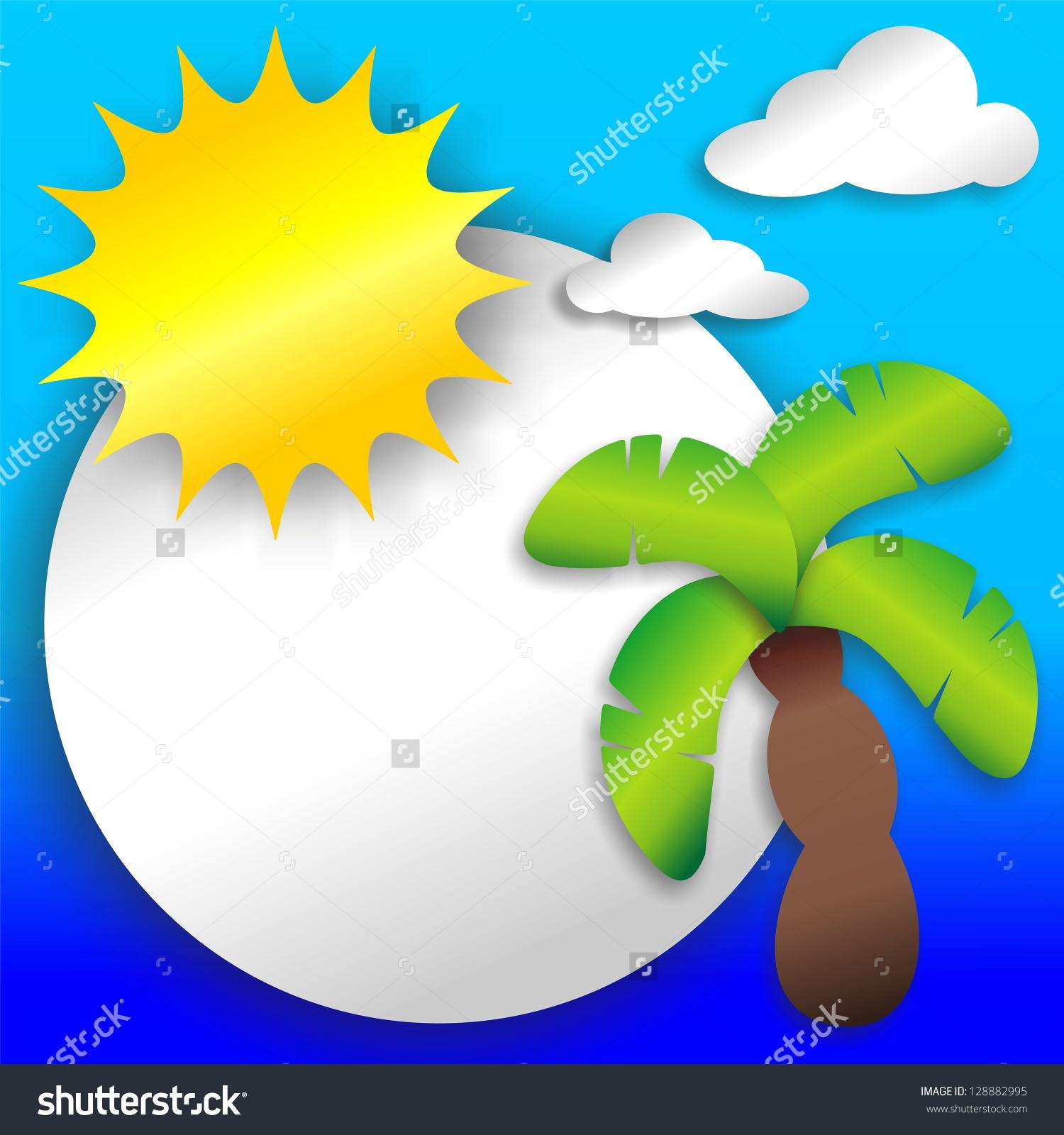 Tropical Beach Stickers Labels Clip Art Seascape Stock Photo.