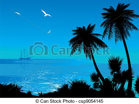 Clipart Vector of Seascape..