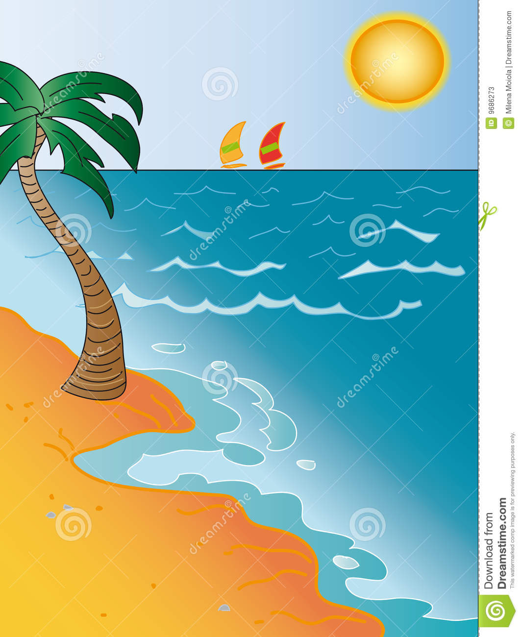 Seascape Cartoon Stock Photos.