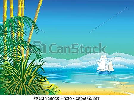 Vector Clip Art of Seascape..