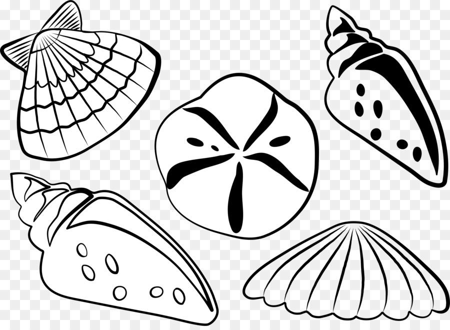 Seashell Black And White Clip Art.