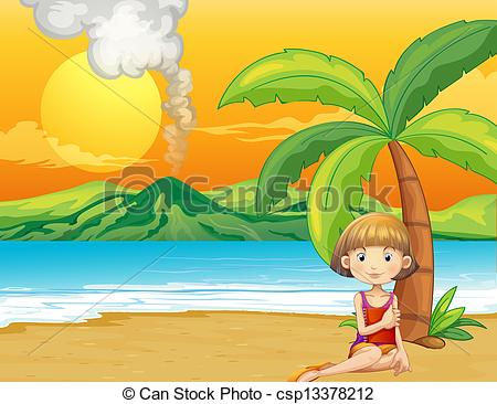 Vector Clip Art of A girl holding a book at the seashore.