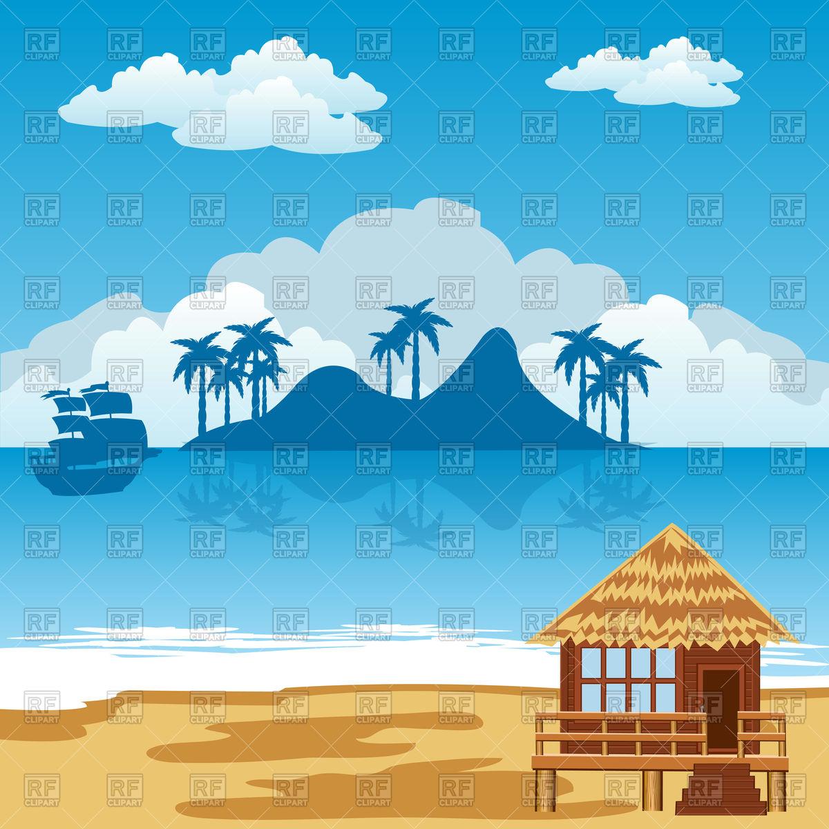 Seamless horizontal pattern with sunny seashore Vector Image.