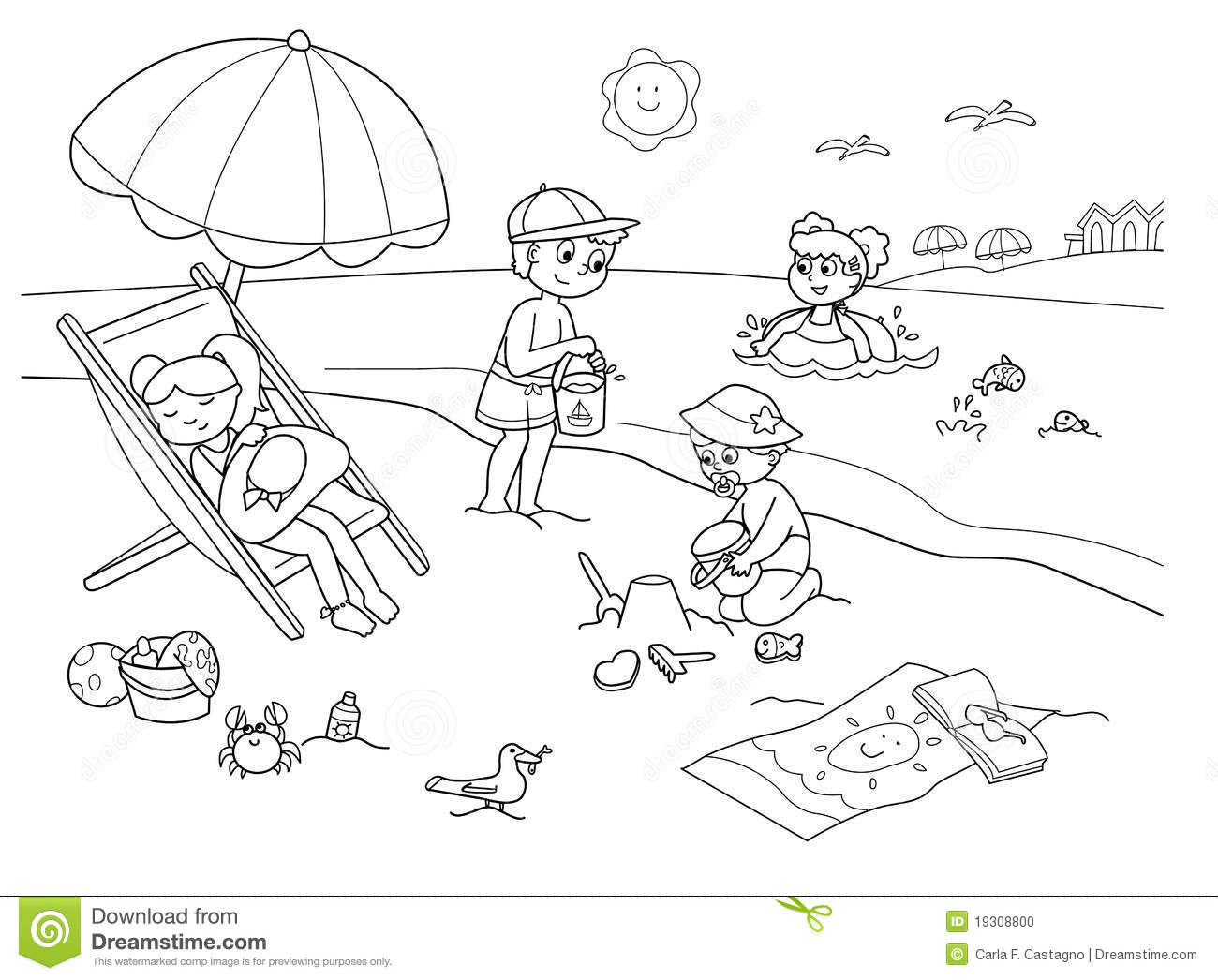 Beach black and white clipart 8 » Clipart Station.