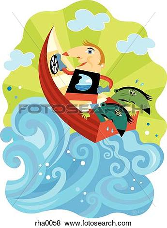 Stock Illustration of A man steering a boat on rough waters while.