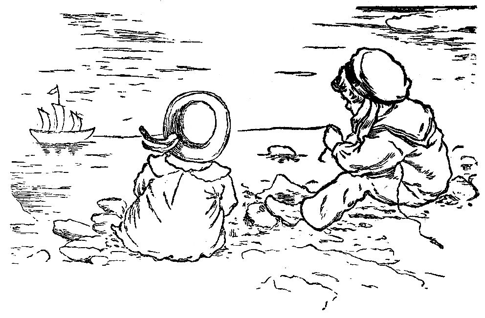 Children Playing At The Beach Clipart Black And White.