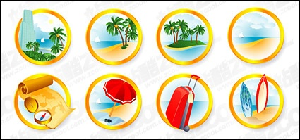 The seaside resort icon vector material clip arts, free clipart.