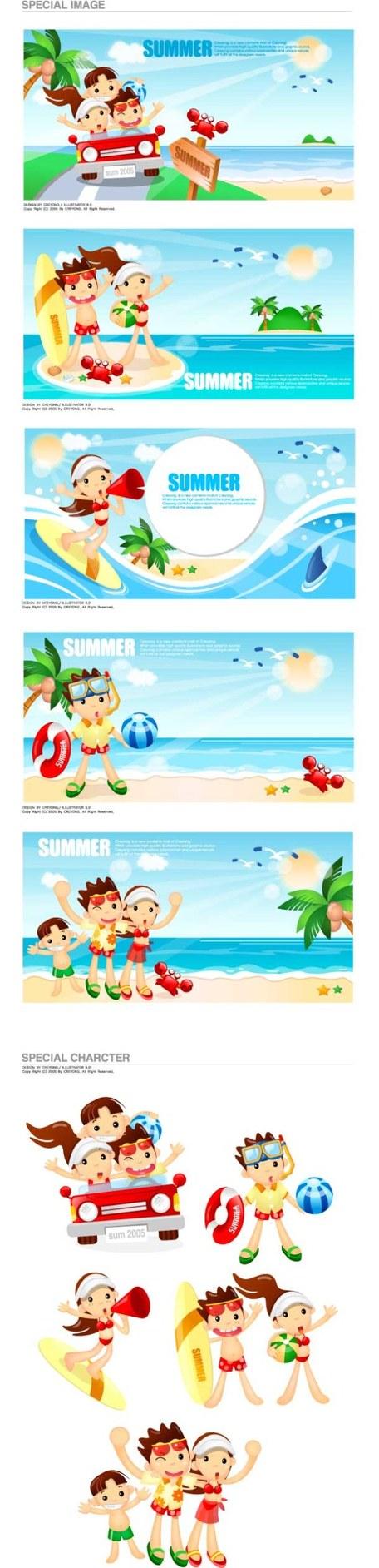 Cartoon boys and girls seaside resort, Clip Arts.