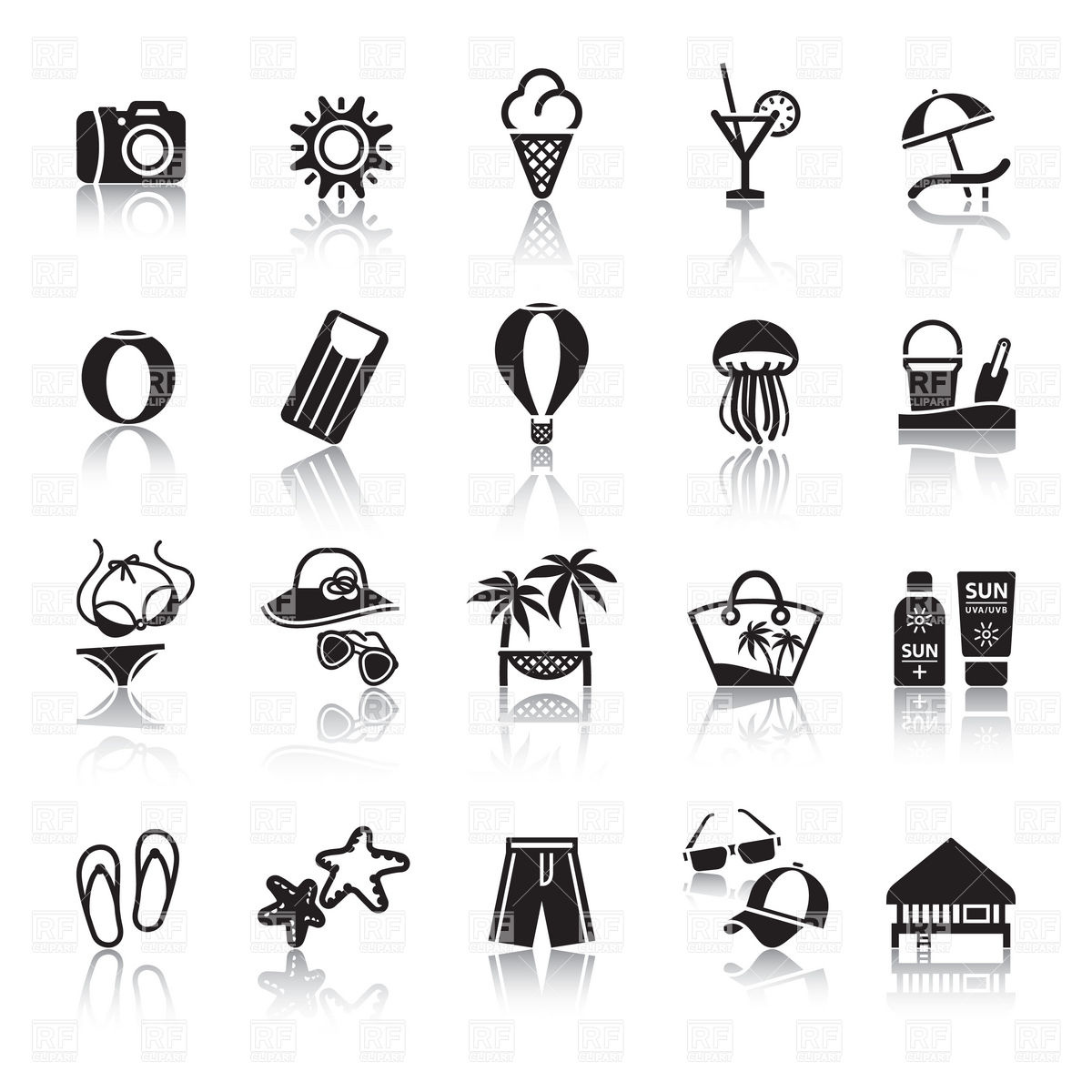 Seaside resort, rest and beach relaxation icons Vector Image.