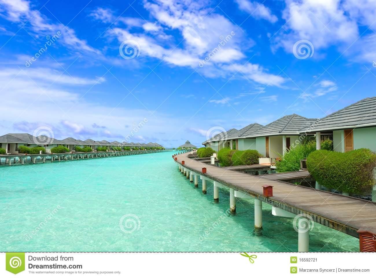 Maldives Seaside Resort Stock Image.