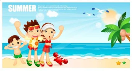 Cartoon boys and girls seaside resort Vector clip arts, free clip.