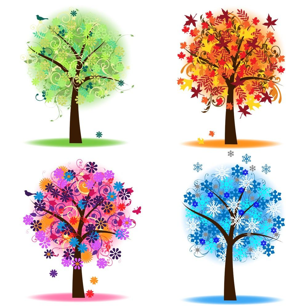 Four Seasons Trees Clipart Clip Art, Spring Summer Winter.